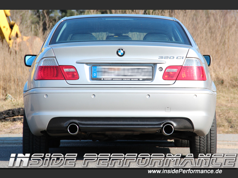 3 series bmw e46 2x1 tip 335i look quad custom exhaust. Black Bedroom Furniture Sets. Home Design Ideas