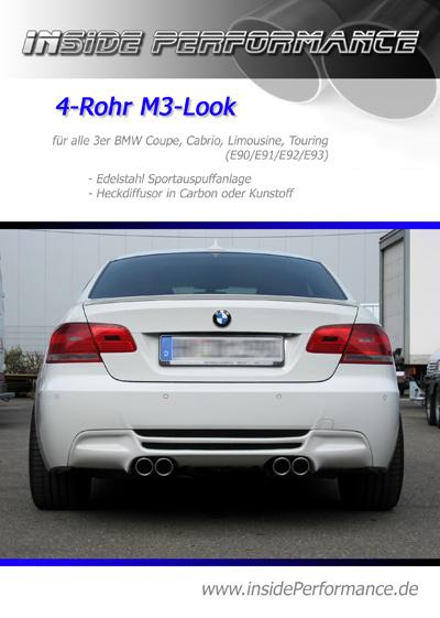 3 series bmw e90/e91/e92/e93 4-tip m3-look quad custom exhaust