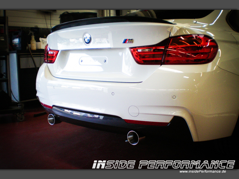 4 series bmw f36 gran coupe 2x1 tip 435i look stainless steal exhaust. Black Bedroom Furniture Sets. Home Design Ideas