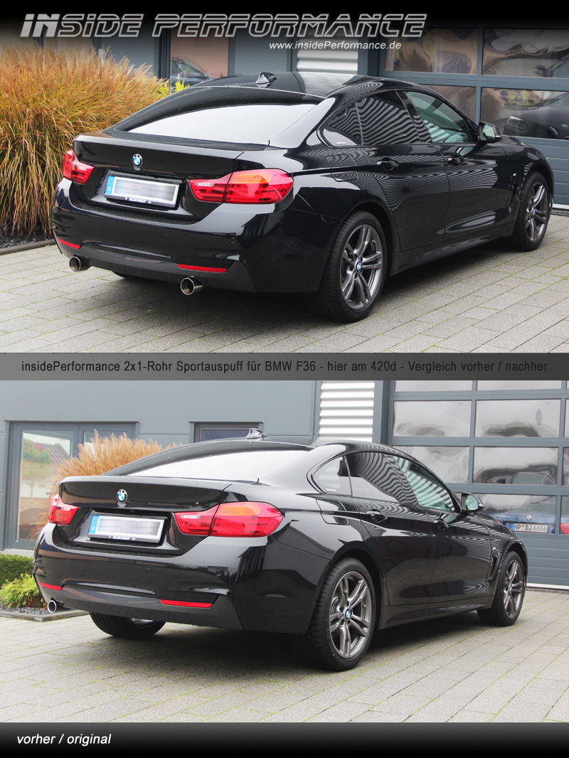 4er bmw f36 gran coupe 2x1 rohr 440i 435i look anlage for Bmw 4er gran coupe m paket