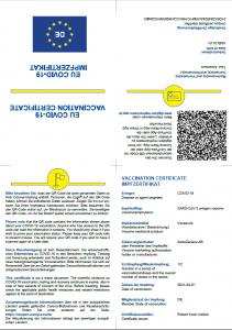 Impfzertifikat Corona COVID-19 Muster PDF - Vorlage